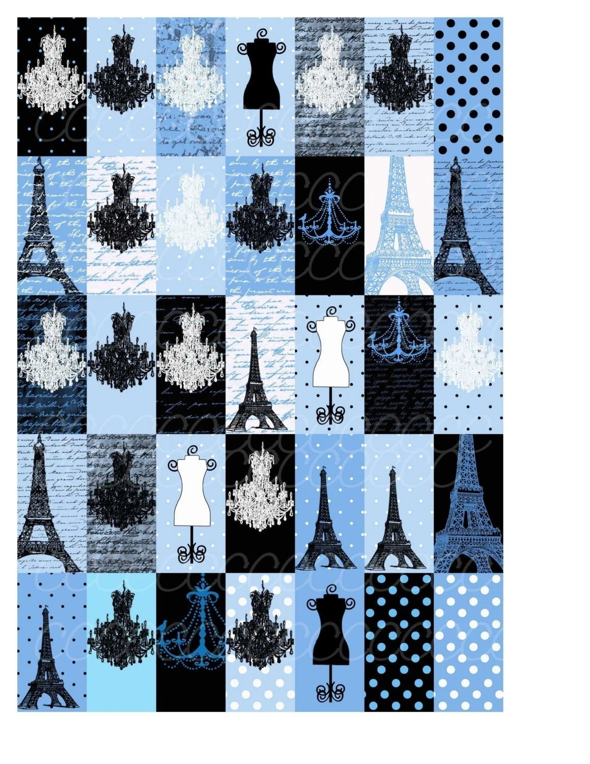 Shabby Chic Black and Blue Digital Collage Sheet 1 by 2 domino pendant size Chandelier Dressform - cupcakecutiees