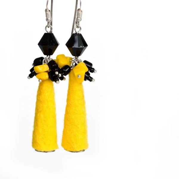 Elegant Vivid Sunny Earrings with Handfelted Beads in Yellow and Black  - Gift under 25 USD - ready to ship - vart