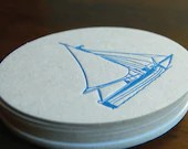 Blue Sail coaster- Letterpress printed, SET of 8 - paisleytreepress