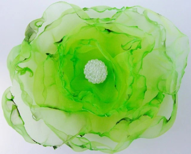 Green Organza Flower Accessory, Hair Clip or Brooch, Bridal Sash, Wedding - OurPlaceToNest