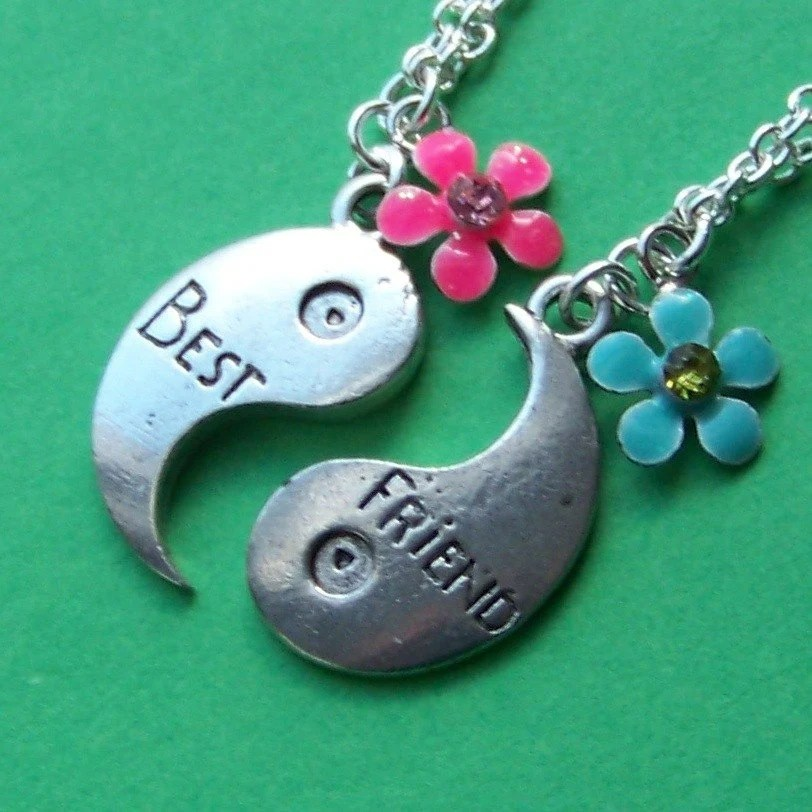 Best Friends Forever Ying Yang Charm Necklaces Set with pink and blue flowers and silver chains