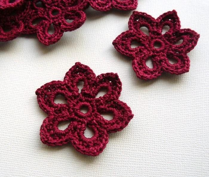 3 Crochet Flower Appliques -- 2 inch Diameter, in Burgundy - CaitlinSainio
