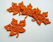 4 Orange Leaf Appliques -- Crochet Maple Leaves - CaitlinSainio