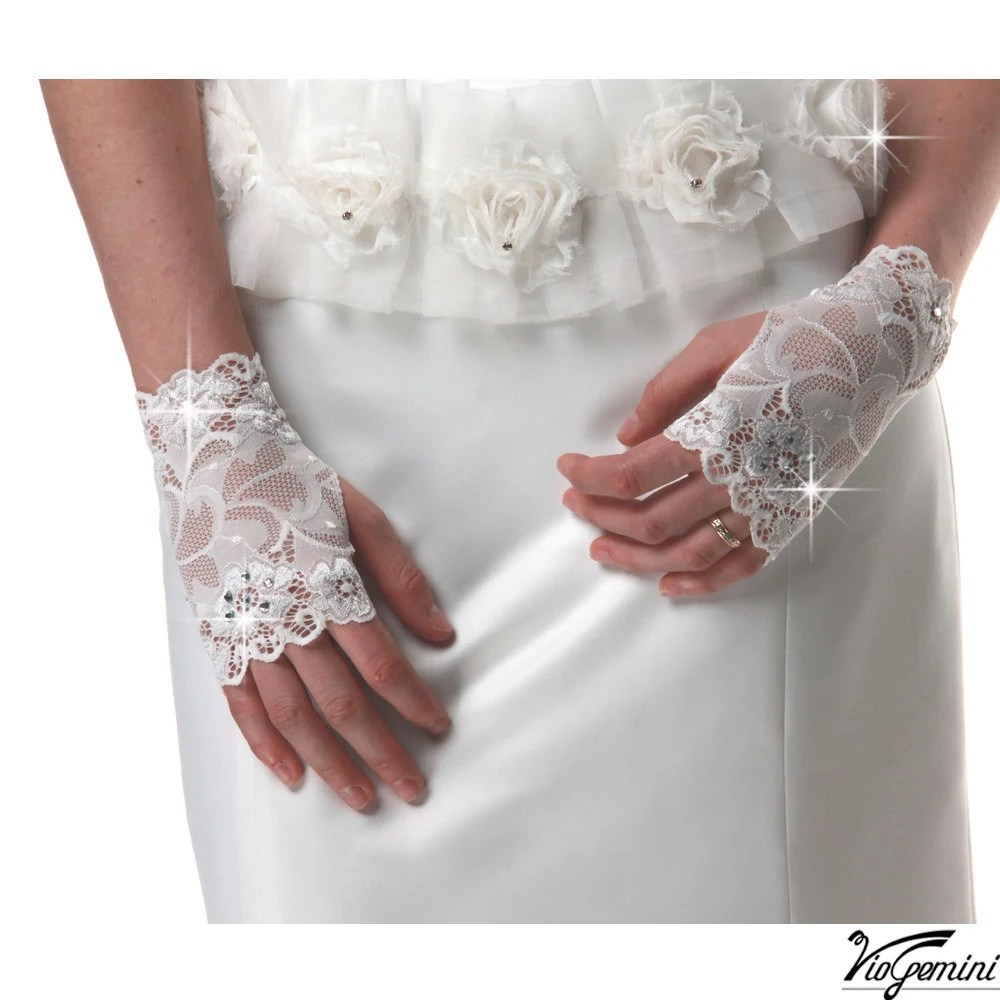 Bridal gloves, wedding gloves, stretch lace, flower lace fingerless gloves with rhinestones - VioGemini
