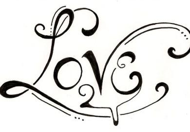 Word Love Tattoo Designs