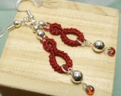Tatted earrings Red Drops with Sterling beads