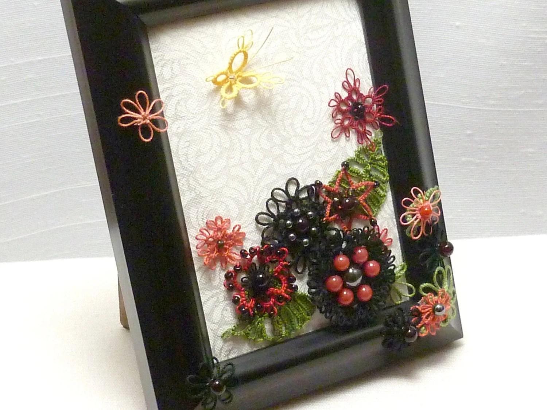 Tatted Lace Fiber Art Butterfly Garden -Buttercup's Garden
