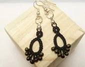 Tatted Lace Earrings in black with dark gold glass beads -Flash Drips