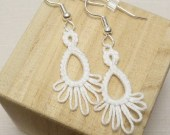 Tatted Lace Earrings in White -Frilly Drips