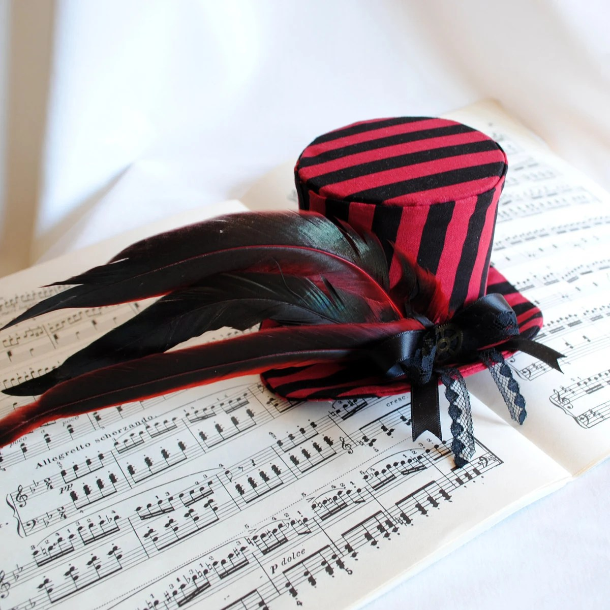 Gothic Mini Top Hat - Black and Red Stripes - Ready to Ship - RagDolliesMadhouse