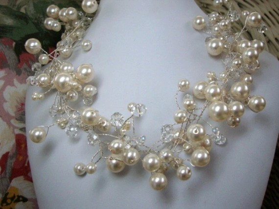 Pearl and Crystal Bridal Necklace - MommaGoddess