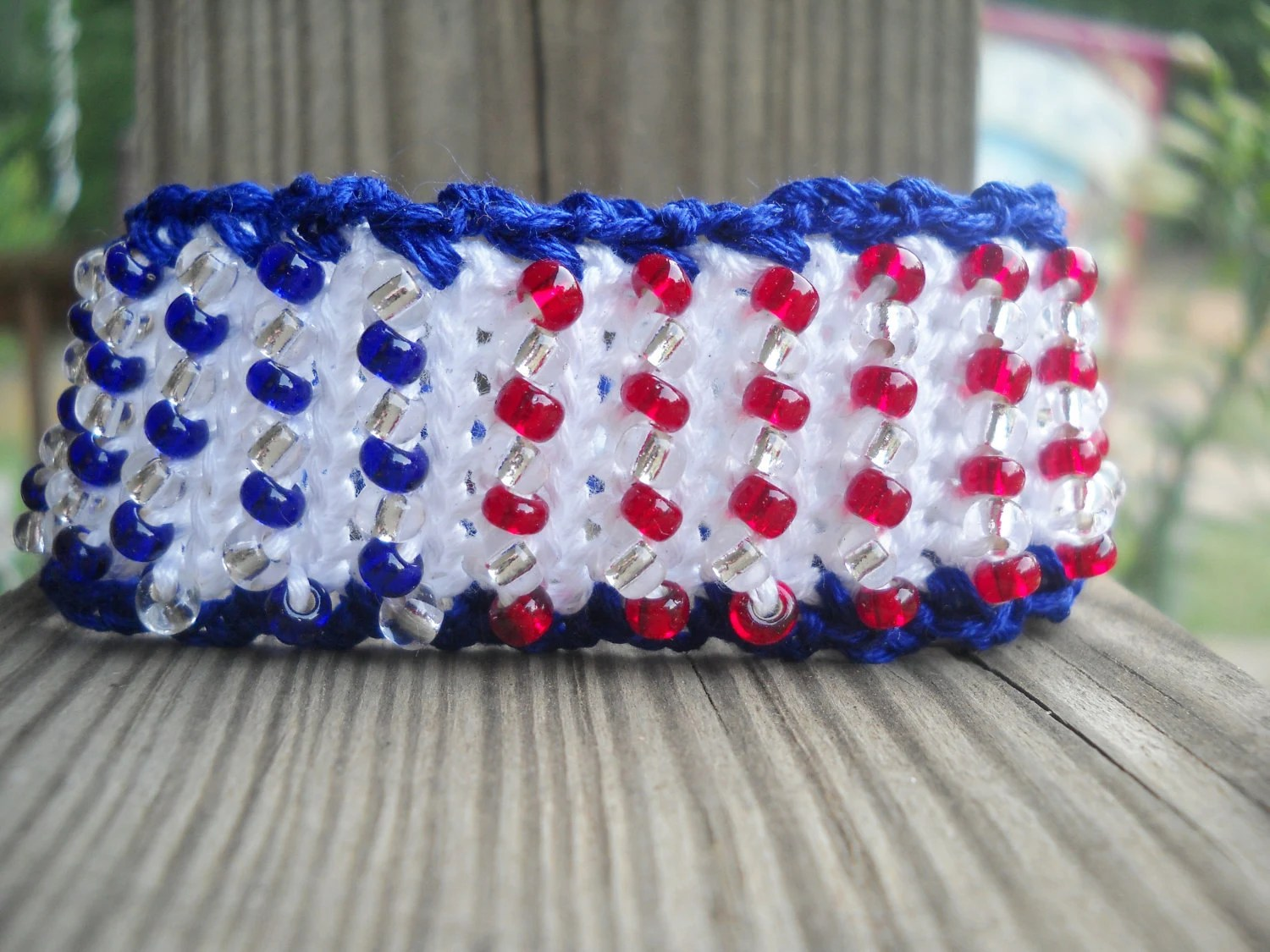 Old Glory - Patriotic Crochet Cuff Bracelet -  Embroidery Thread - No Metal - Washable - MegsCrochetJewels