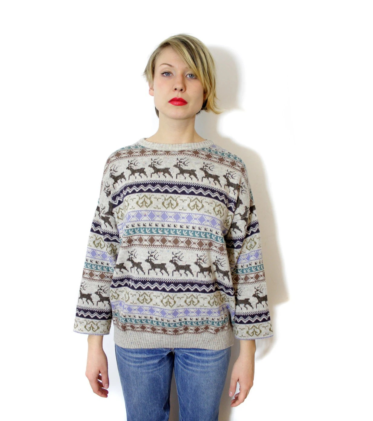 Vintage sweater / deer fair isle gray brown purple green knit / size L - nemres