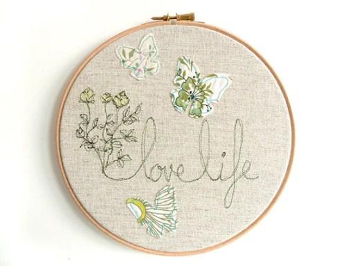 """Embroidered Hoop Art - 'Flowers & Butterflies' textile artwork in green-  8"""" hoop"""