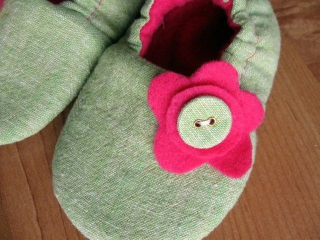 handmade soft soled baby toddler shoes. 'Lime Linen' ...upcycled linen ... Newborn to 24 months...by birdy boots on Etsy