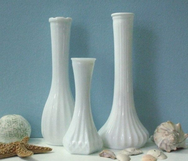 Antique Milk Glass Vases Unusual Design Clg