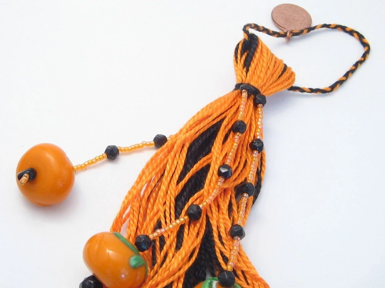 Black and Orange Halloween Pumpkin Beaded Door Tassel - lizbethsgarden