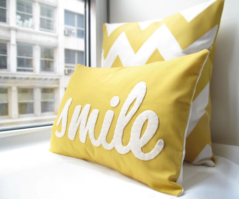 Smile Pillow in Yellow - HoneyPieDesign
