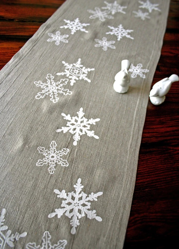 Ready to Ship. Linen Table Runner. Snowflake. Winter. Holiday Decor. Christmas Gift. Hand Screen Printed. - PonyAndPoppy