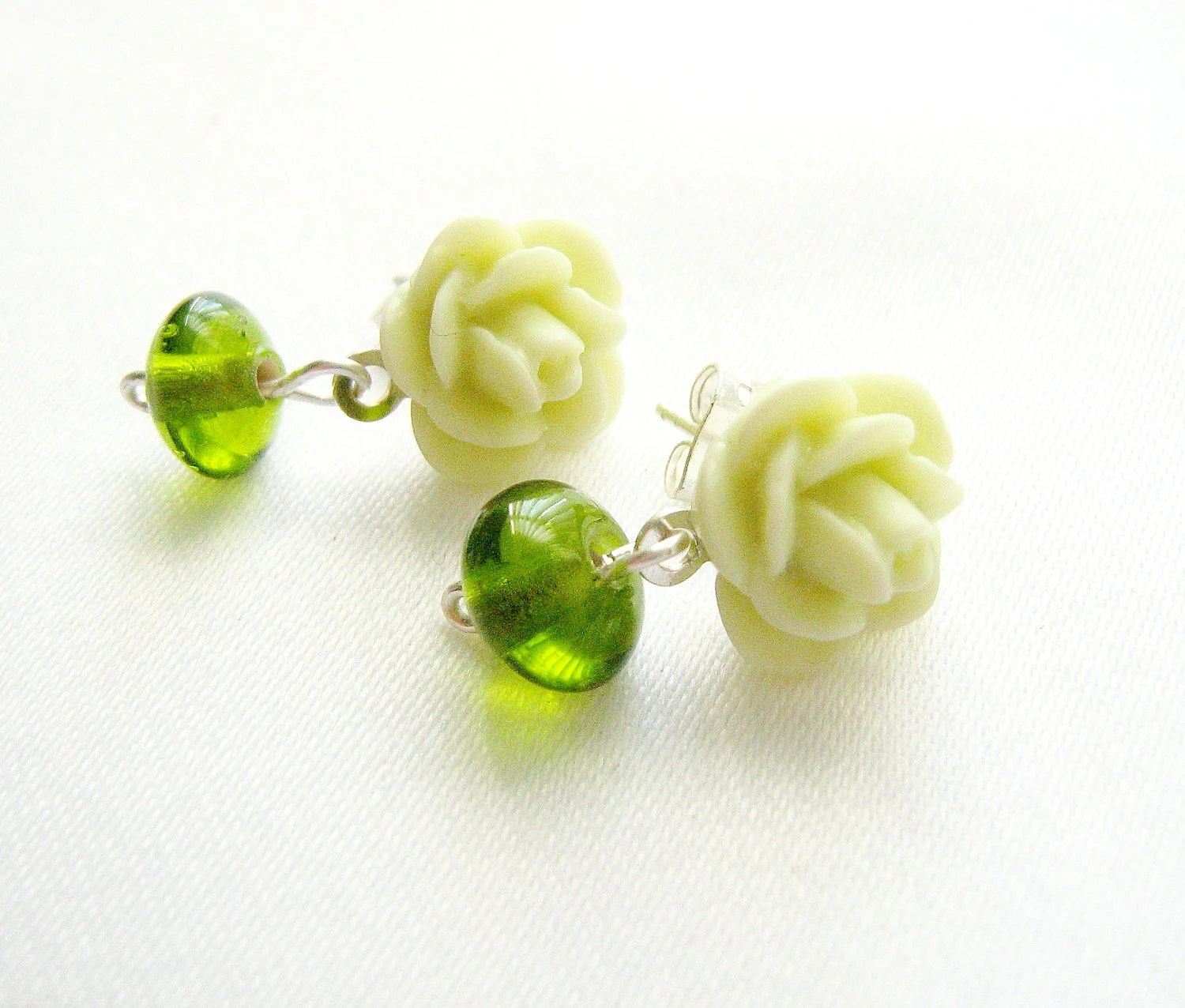 Chartreuse Rose Post Earrings on Sterling Silver, more colors available - AlinaandT