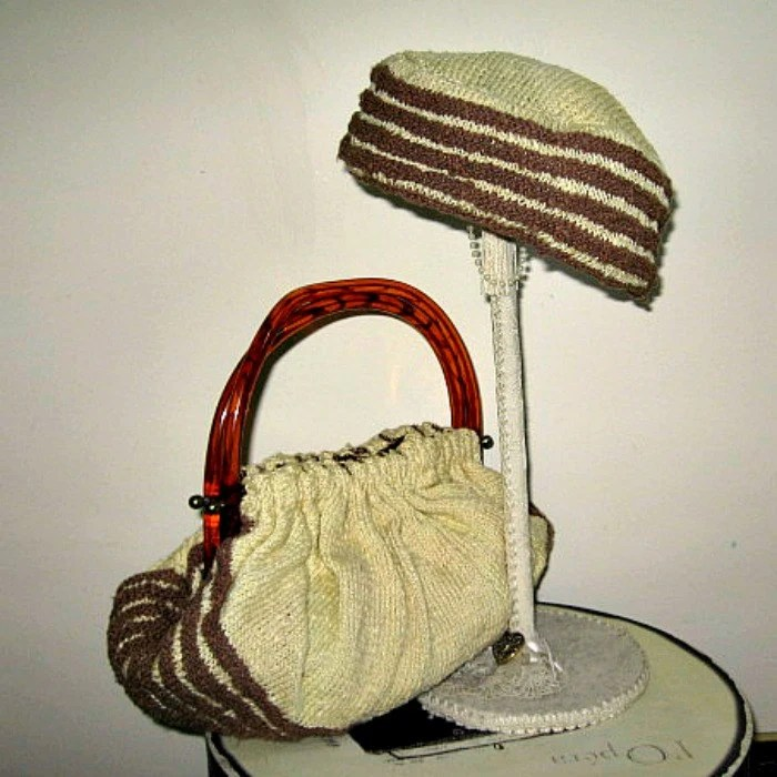 purse set vintage 50 hand knit pill box plastic pouch bag brown yellow