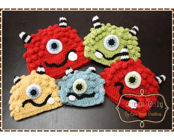 Monster Hat Crochet Pattern - BRONSTER & MISSY - 104 --- Permission to Sell Finished Items