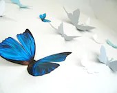 15 3D Wall Butterflies, 3D Wall Decor, 3D Butterfly Wall art, Blue, Silver, White, Nursery, Wedding Decor, Cardstock - SimplyChicLily