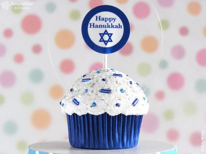 Happy Hanukkah Cupcake Ornament - mini size - great for a hostess gift