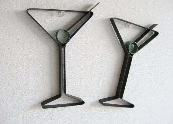 Martini Glass Metal Wall Decor - just4theartofit