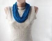 Summer Scarf Skinny Nautical Crochet loop necklace cobalt blue navy ultramarine ocean spring summer fashion vegan - violasboutique