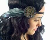 Teal Beaded Bohemian Feather Headband - gypsy, hippie, warrior, black - neesiedesigns