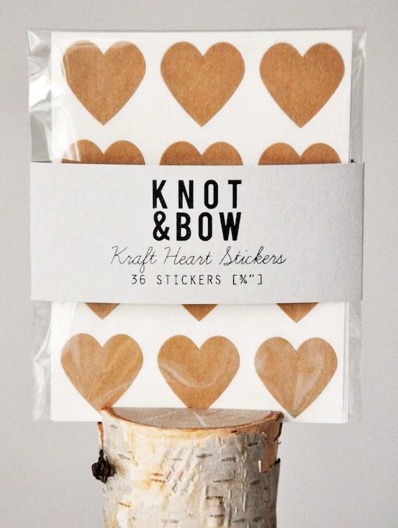 144 Kraft Heart Stickers - FREE SHIPPING