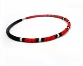 Crochet Cable Choker Skinny Necklace Striped Red Black White - vanessahandmade