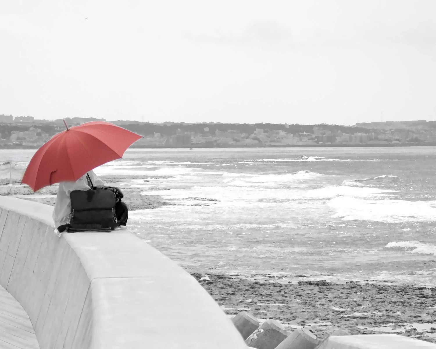 Abstract Photography -Black White Red Art, Red Home Decor, Red Wall Art,  8x10 Print Burgunday Maroon Red Umbrella Travel Photo - BreeMadden