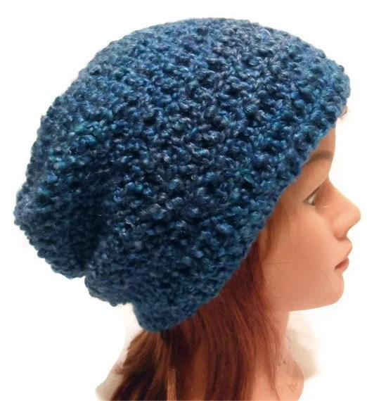 Crochet Slouch Beanie Hat Erika Lynn in Blue Medium - AddSomeStitches