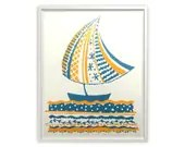 Sail Boat - Silkscreen Art Print - Navy Blue Gold - 8 x 10 Poster - Limited Edition - Fenhood