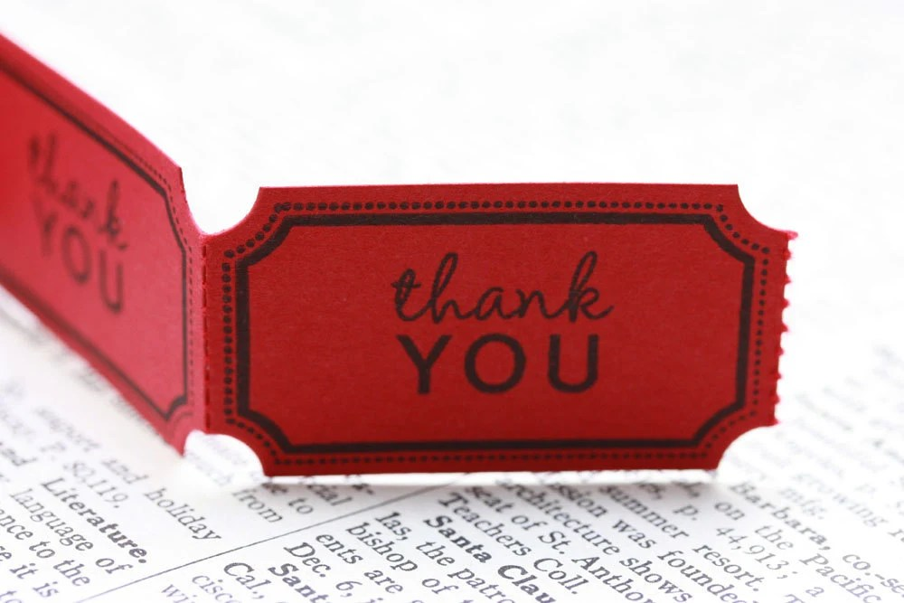 Handmade Poppy Red Carnival Tickets - Thank You - Set of 18 - inkscissors