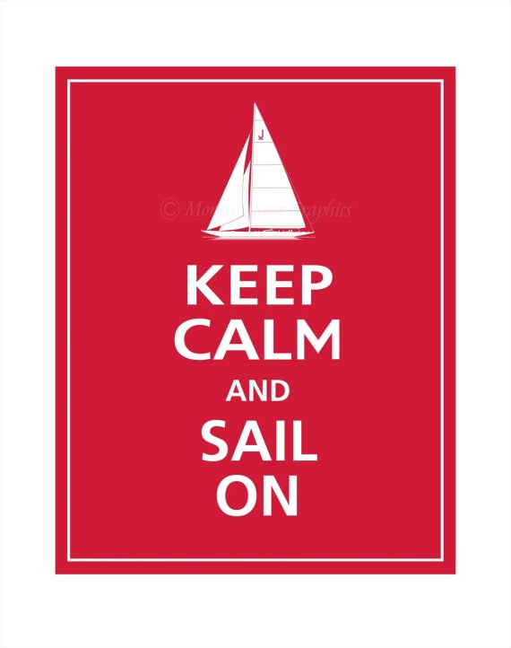 Keep Calm and SAIL ON (Vintage J Boat) Poster 11x14 (Vintage Red featured -- 56 colors to choose from) - PosterPop