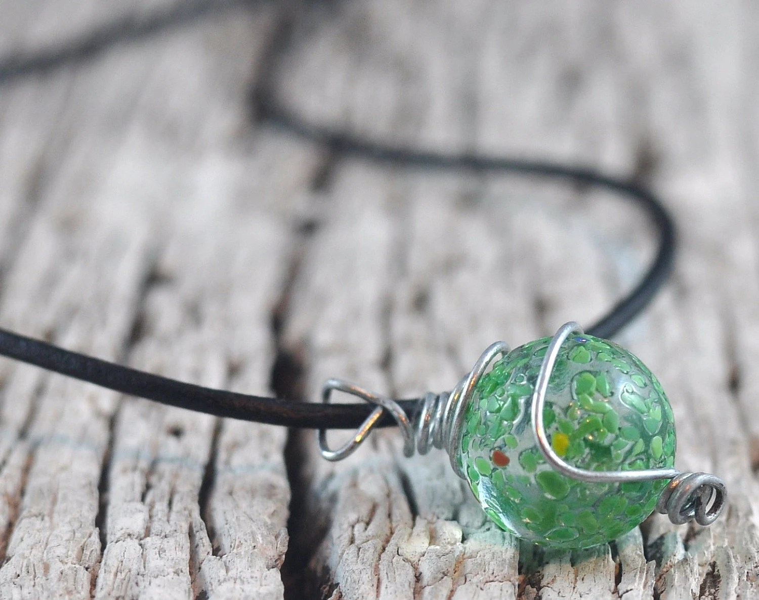 Green Marble Necklace  Wire Wrapped in Handmade Cage on Leather Thong in Handmade Felt Pouch. - DeeDeeDeesigns