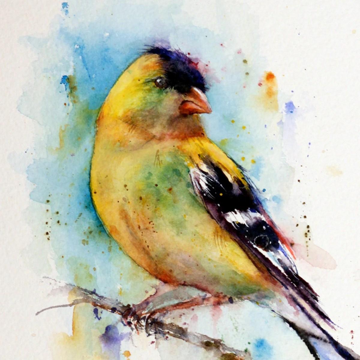 GOLFINCH Watercolor Bird Print by Dean Crouser - DeanCrouserArt