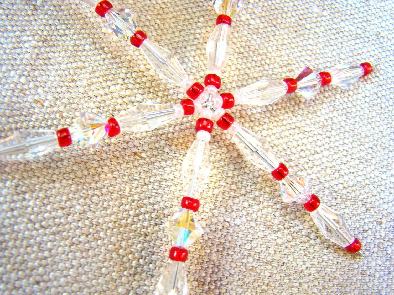 Crystal snowflake ornament: Swarovski crystal and glass in red and white - ElephantBeads