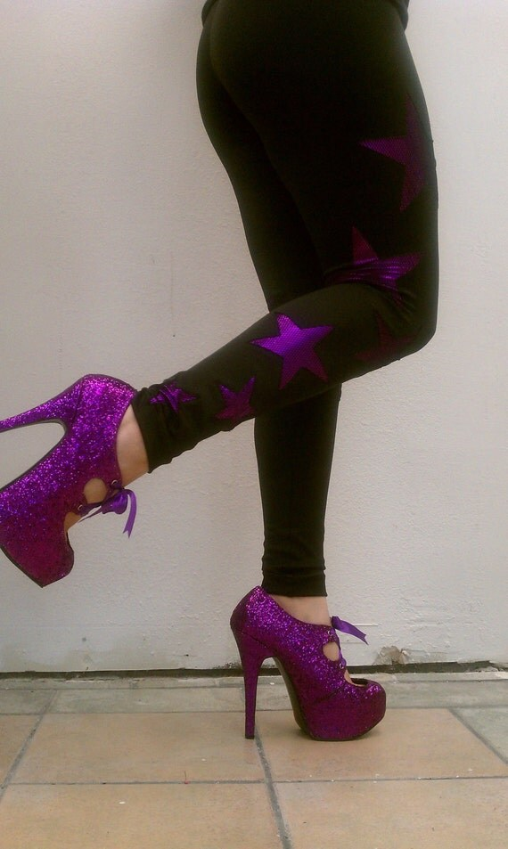 Black Violet Purple Fishnet Metallic Stars Spandex Leggings Tights Pants Womens - GEMMBYGENESIS