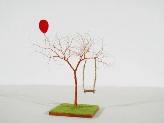 The Swing and The Red Balloon Handmade Wire Tree Sculpture - monocerus