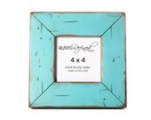 "4x4 square picture frame with 2"" border width -Turquoise - RusticRefined"