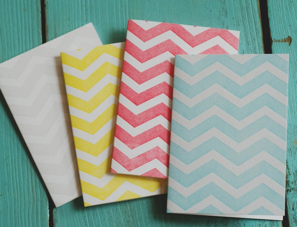 Chevron Letterpress Notecards - 4thyear