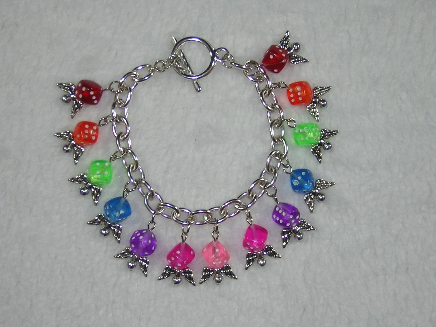 Rainbow Flying Dice Beaded Charm Bracelet for Gamer Girls - Handmade by Rewondered D225B-00001 - $29.95
