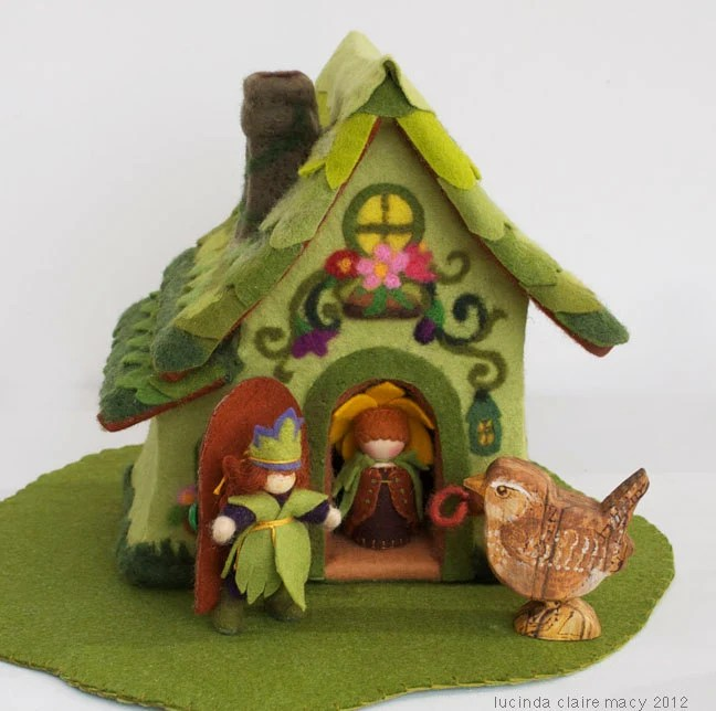 Spring Cottage Gnome Home made of Felt