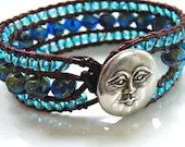 Beaded Leather Wrap Cuff Bracelet with Premium Czech Beads and Blue Moon - GloryGift