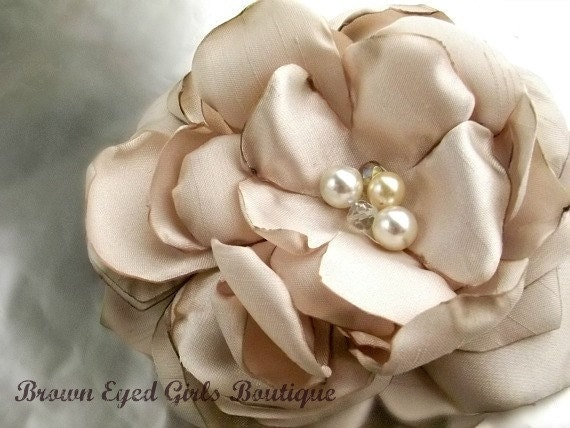 Champagne Bridal Flower Hair clip, Wedding Hair Accessory, Fascinator, Shantung, Pearl Beads, Bridal Head Piece - browneyedgirlsboutiq