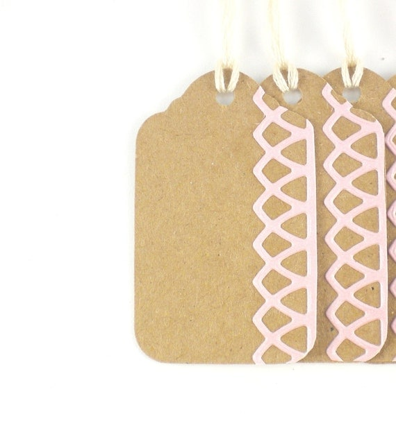 5 Recycled MEDIUM Pink Lace Ballerina Gift Tags - ECO FRIENDLY